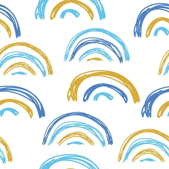 Modèle sans couture avec des arcs-en-ciel et des coeurs décoration moderne de style doodle à main levée