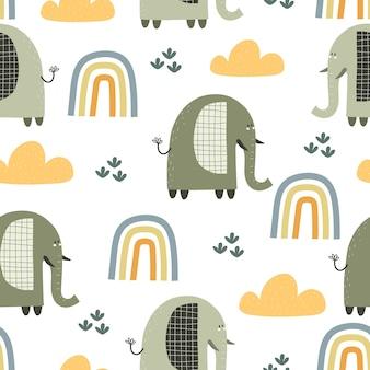 Modèle sans couture avec des arcs-en-ciel d'éléphants de dessin animé