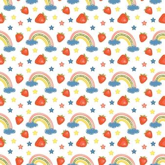 Modèle sans couture avec des arcs-en-ciel lumineux, des fraises et des étoiles
