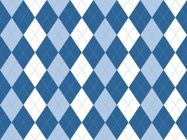 Modèle sans couture argyle blanc bleu