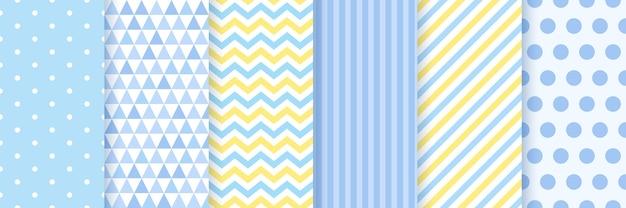 Modèle sans couture. arrière-plans de douche de bébé. définissez des motifs pastel bleus.