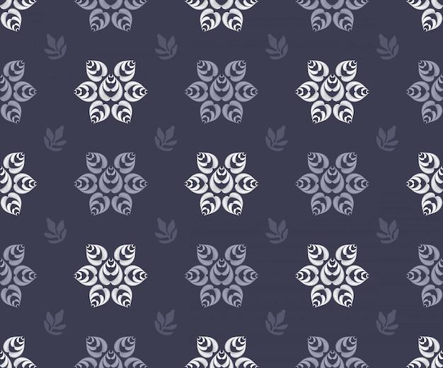 Modèle sans couture d'art floral vector. fleurs de vecteur rayé isolé