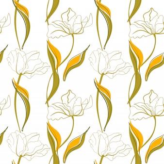 Modèle Sans Couture D'art De Ligne De Tulipe Dans Le Style Scandinave Vecteur Premium