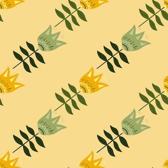 Modèle sans couture d'art populaire de fleur de décoration sur fond clair.