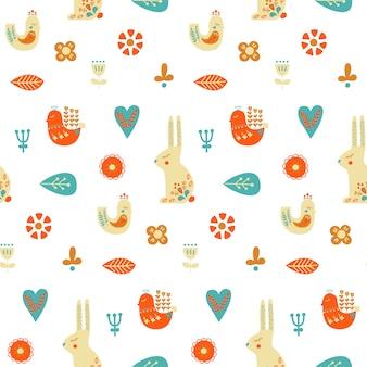 Modèle sans couture d'art populaire avec le lapin.