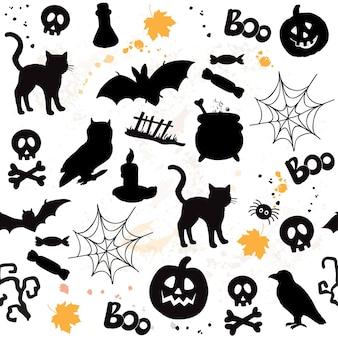 Modèle sans couture d'articles d'halloween citrouille de chats noirs
