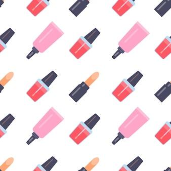 Modèle sans couture avec des articles de maquillage dans un style plat. illustration vectorielle.