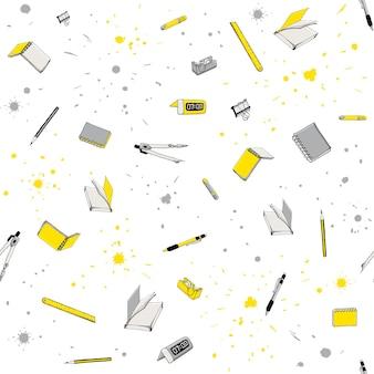 Modèle sans couture avec des articles de papeterie de croquis et des fournitures scolaires