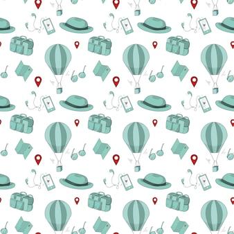 Modèle sans couture avec des articles de voyage de style doodle sur fond blanc.