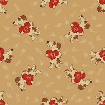 Modèle sans couture artisanale doodle avec des chiens