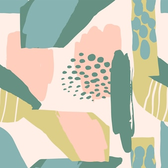 Modèle sans couture artistique abstrait avec des textures dessinées à la main tendance