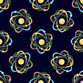 Modèle sans couture d'atome sur fond bleu foncé.