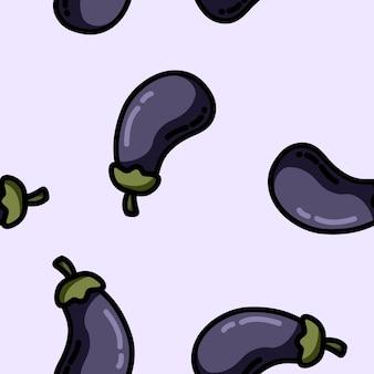 Modèle sans couture aubergine style plat dessin animé mignon