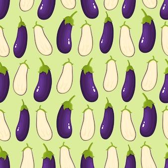 Modèle sans couture avec des aubergines de dessin animé sur vert.