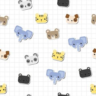 Modèle sans couture autocollant tête animaux mignons doodle