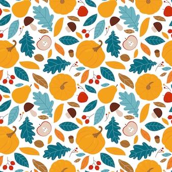 Modèle sans couture automnale avec diverses feuilles de citrouille, poires, pommes, baies et champignons. illustration sur un fond blanc.