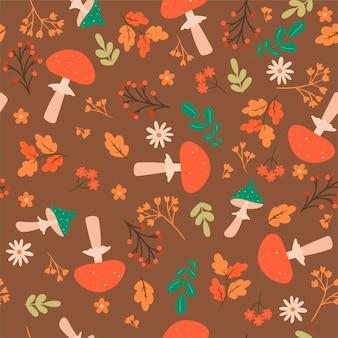 Modèle sans couture d'automne avec amanite. graphiques vectoriels.