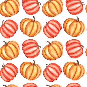 Modèle sans couture automne aquarelle avec citrouilles isolés