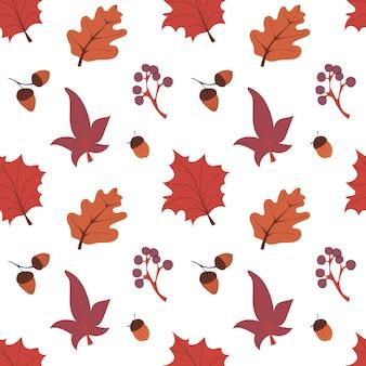 Modèle sans couture d'automne avec des champignons laisse des glands et illustration vectorielle de hadgehog fall