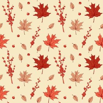 Modèle sans couture d'automne coloré avec des feuilles d'érable et des baies