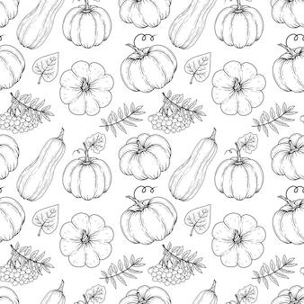 Modèle sans couture automne dessiné main de citrouilles et de feuilles. illustration. noir et blanc. monochrome.