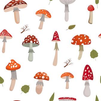 Modèle sans couture automne avec divers champignons d'amanite.