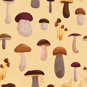 Modèle sans couture automne avec divers champignons.