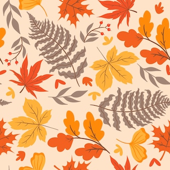 Modèle sans couture d'automne avec des feuilles. graphiques vectoriels.