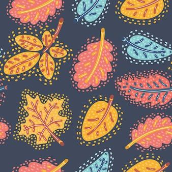 Modèle sans couture d'automne avec des feuilles qui tombent