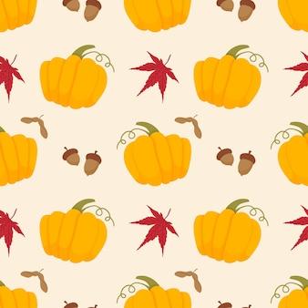 Modèle sans couture d'automne avec des feuilles rouges de citrouilles jaunes et illustration vectorielle de chêne gland