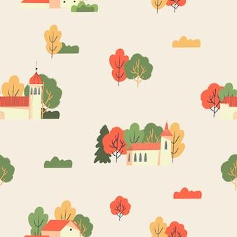Modèle sans couture d'automne sur un fond beige schéma de couleurs chaudes paysage rural