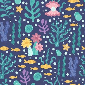 Modèle sans couture aux algues et au poisson