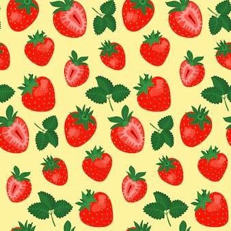 Modèle sans couture aux fraises sur fond jaune.