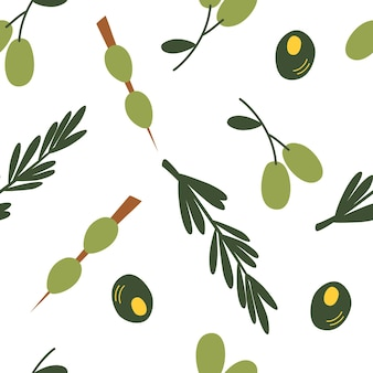 Modèle sans couture aux olives. fond d'olives vertes de dessin animé coloré. parfait pour les restaurants et les bars, les événements martini, les cosmétiques biologiques, les sociétés d'huile d'olive, les dépliants et les menus. illustration vectorielle