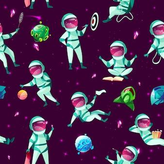 Modèle sans couture avec spacemen mignon drôle jouant aux fléchettes, basket-ball, badminton méditant
