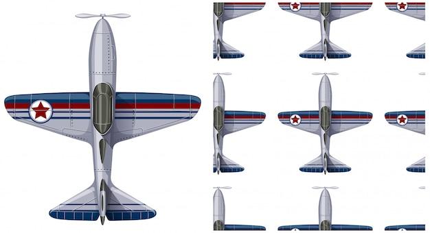 Modèle sans couture avion isolé sur blanc