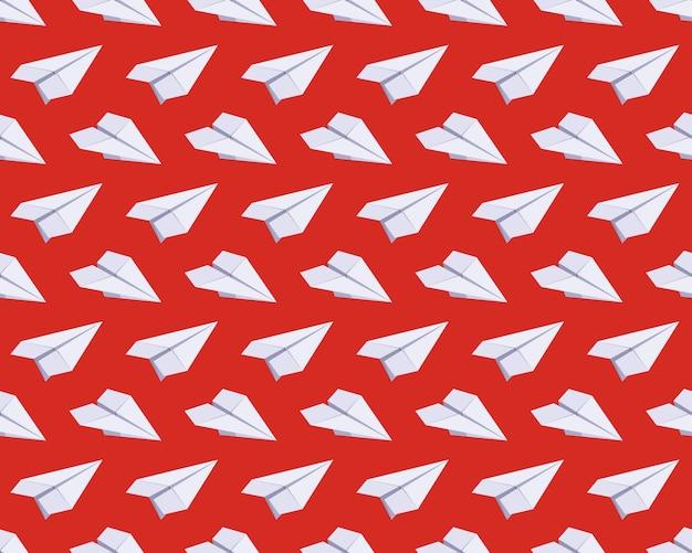 Modèle sans couture avec des avions en papier isométrique