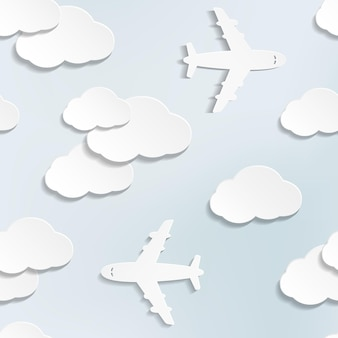 Modèle sans couture avec des avions en papier et des nuages