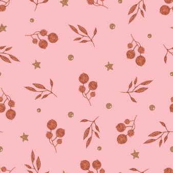 Modèle sans couture de baies et de branches de cuivre sur fond rose