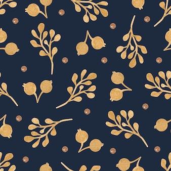 Modèle sans couture de baies et de branches d'or sur fond sombre