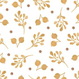 Modèle sans couture de baies et de branches d'or