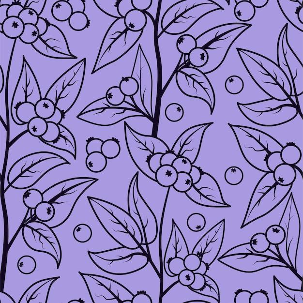 Modèle sans couture avec des baies et des feuilles de baies de neige.