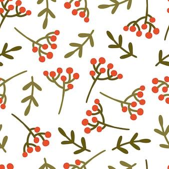 Modèle sans couture avec des baies de noël et des brindilles. illustration vectorielle festive dessinée à la main. impression pour tissu, papier d'emballage, vaisselle à emporter.