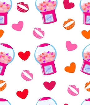 Modèle sans couture avec le baiser et le coeur de machine à gommes