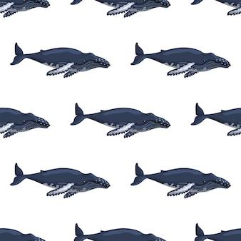 Modèle sans couture baleine à bosse sur fond blanc. modèle de personnage de dessin animé de l'océan pour les enfants.