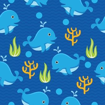 Modèle sans couture de baleine mignon dans un style design plat
