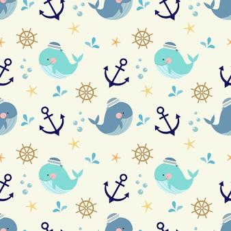 Modèle sans couture de baleine mignonne, symboles nautiques et marins.