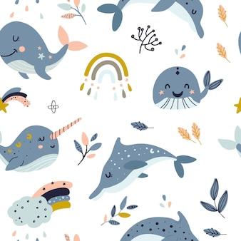Modèle sans couture avec les baleines célestes.