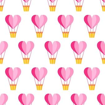 Modèle sans couture de ballon coeur origami