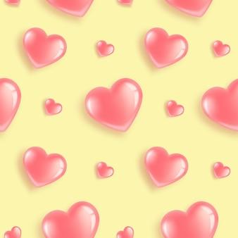 Modèle sans couture avec des ballons en forme de coeur roses.